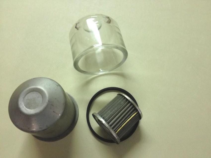 filtro benzina, bicchiere vetro e ricambi